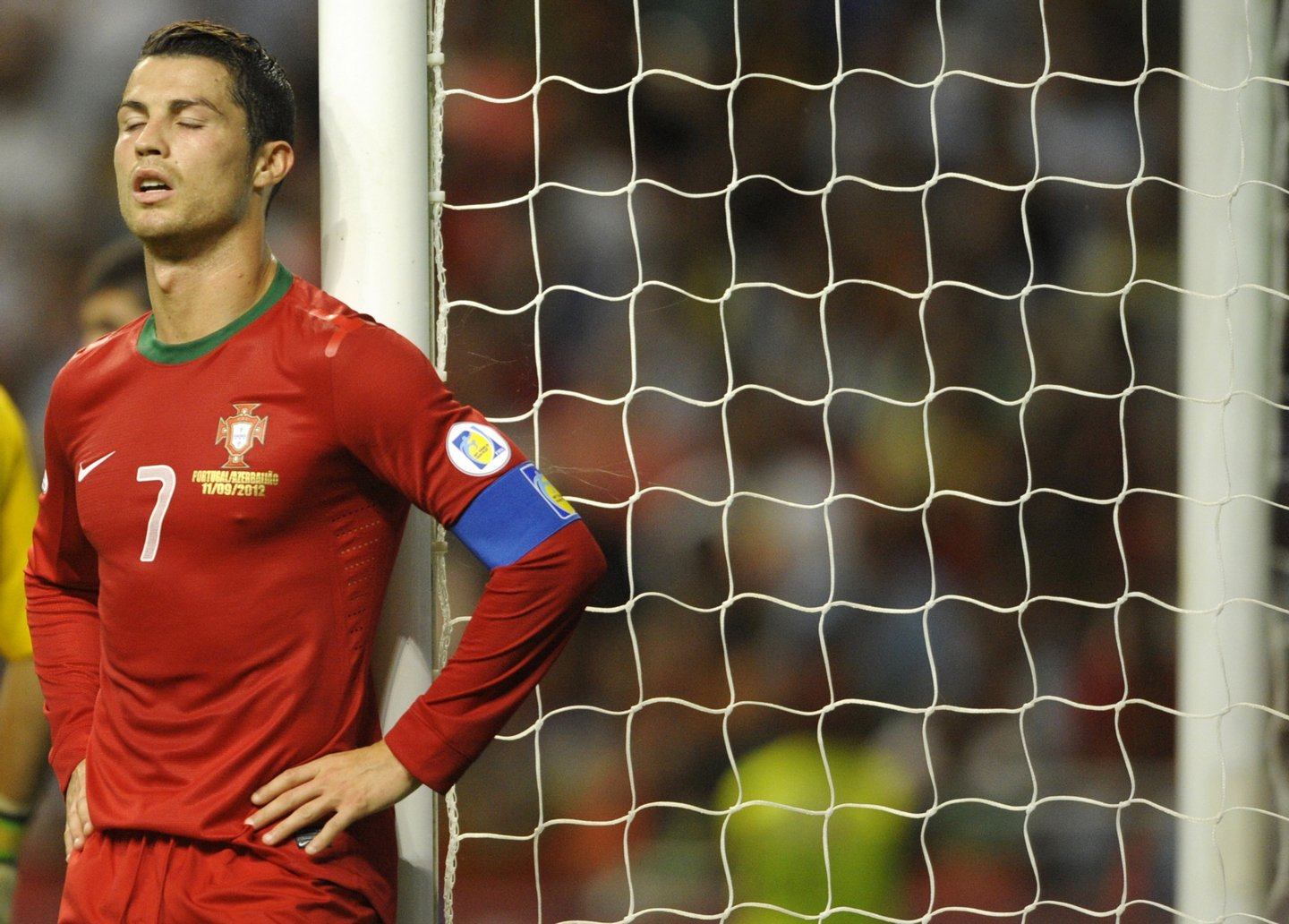 Portugal's forward Cristiano Ronaldo reacts after loosing a chance to score a goal during the World Cup 2014 qualifying football match Portugal between and Azerbaijan at the AXA Stadium in Braga, northern Portugal, on September 11, 2012. AFP PHOTO / MIGUEL RIOPA        (Photo credit should read MIGUEL RIOPA/AFP/GettyImages)