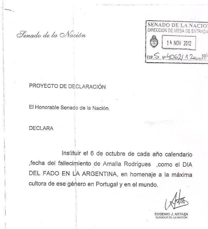 declaração fado argentina