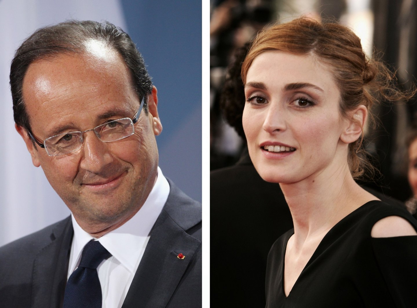 (FILE PHOTO) In this composite image a comparison has been made between Francois Hollande (L) and Julie Gayet. ***LEFT IMAGE***  BERLIN, GERMANY - MAY 15:  French President Francois Hollande speaks to the media following talks at the Chancellery hours after Hollande's inauguration in Paris on May 15, 2012 in Berlin, Germany. Hollande has come to Berlin to discuss the current European debt crisis with Merkel and most importantly to find common ground, as he hopes to resolve the crisis with measures that mark a departure from the austerity packages favoured by Merkel.  (Photo by Sean Gallup/Getty Images) ***RIGHT IMAGE*** CANNES, FRANCE - MAY 12: Actress Julie Gayet attends the premiere of the film 'Match Point' at the Palais during the 58th International Cannes Film Festival May 12, 2005 in Cannes, France. (Photo by Pascal Le Segretain/Getty Images)