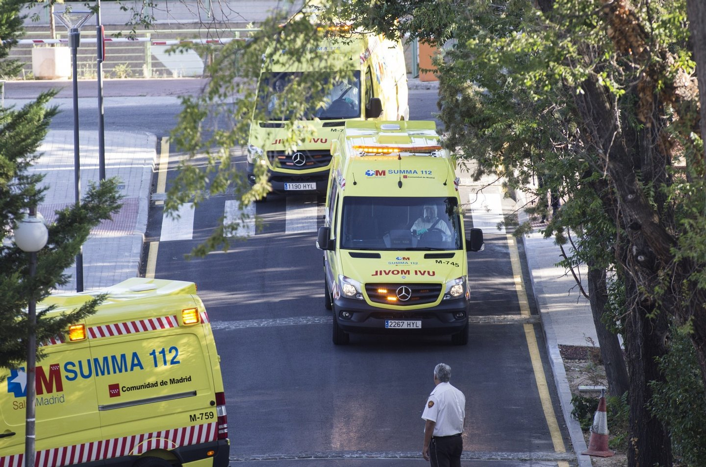 Ambulances carrying Roman Catholic priest Miguel Pajares, who contracted the deadly Ebola virus, and Spanish nun Juliana Bonoha Bohe arrive at the Carlos III hospital in Madrid on August 7, 2014. An elderly Spanish missionary infected with the deadly Ebola virus in Liberia landed in Madrid today, the first patient in the fast-spreading outbreak to be evacuated to Europe for treatment.  AFP PHOTO / OSCAR DEL POZO        (Photo credit should read OSCAR DEL POZO/AFP/Getty Images)