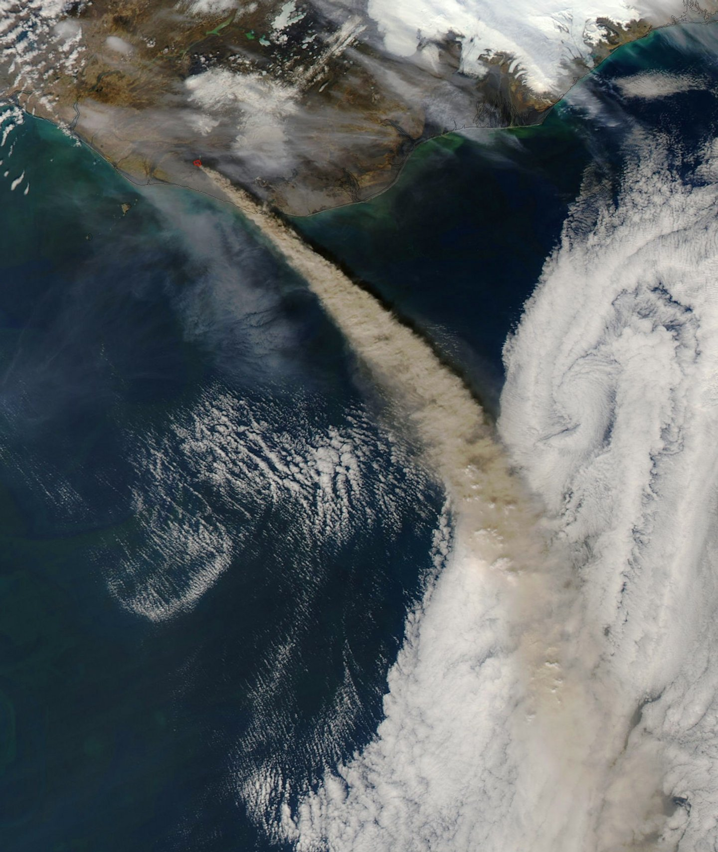 This handout picture captured by NASA?s Moderate Resolution Imaging Spectroradiometer (MODIS) on board the Aqua satellite on May 8, 2010 shows Iceland?s Eyjafjallajokull volcano continuing to emit a dense plume of ash and steam. Iceland's Eyjafjoell volcano threatened European skies with a new ash cloud Friday raising the risk of more flight cancellations, officials said. AFP / NASA MODIS - RESTRICTED TO EDITORIAL USE (Photo credit should read NASA MODIS/AFP/Getty Images)