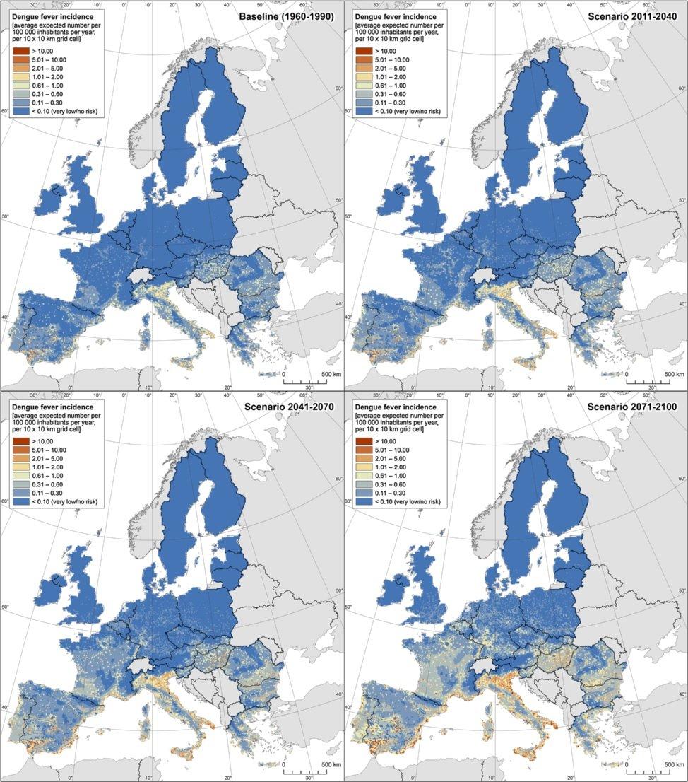 Previsão do número de casos de dengue por cada 100 mil habitantes em diferentes períodos na Europa dos 27