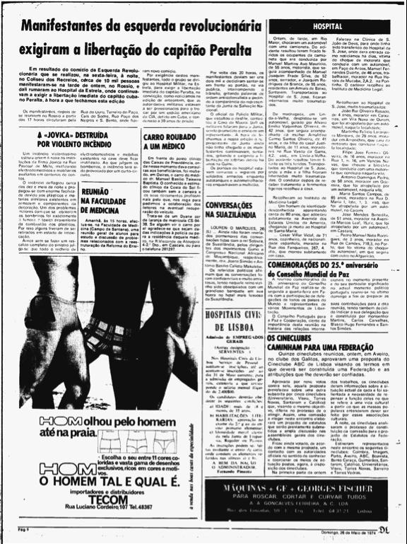 Uma página do Diário de Lisboa com notícia de uma das manifestações