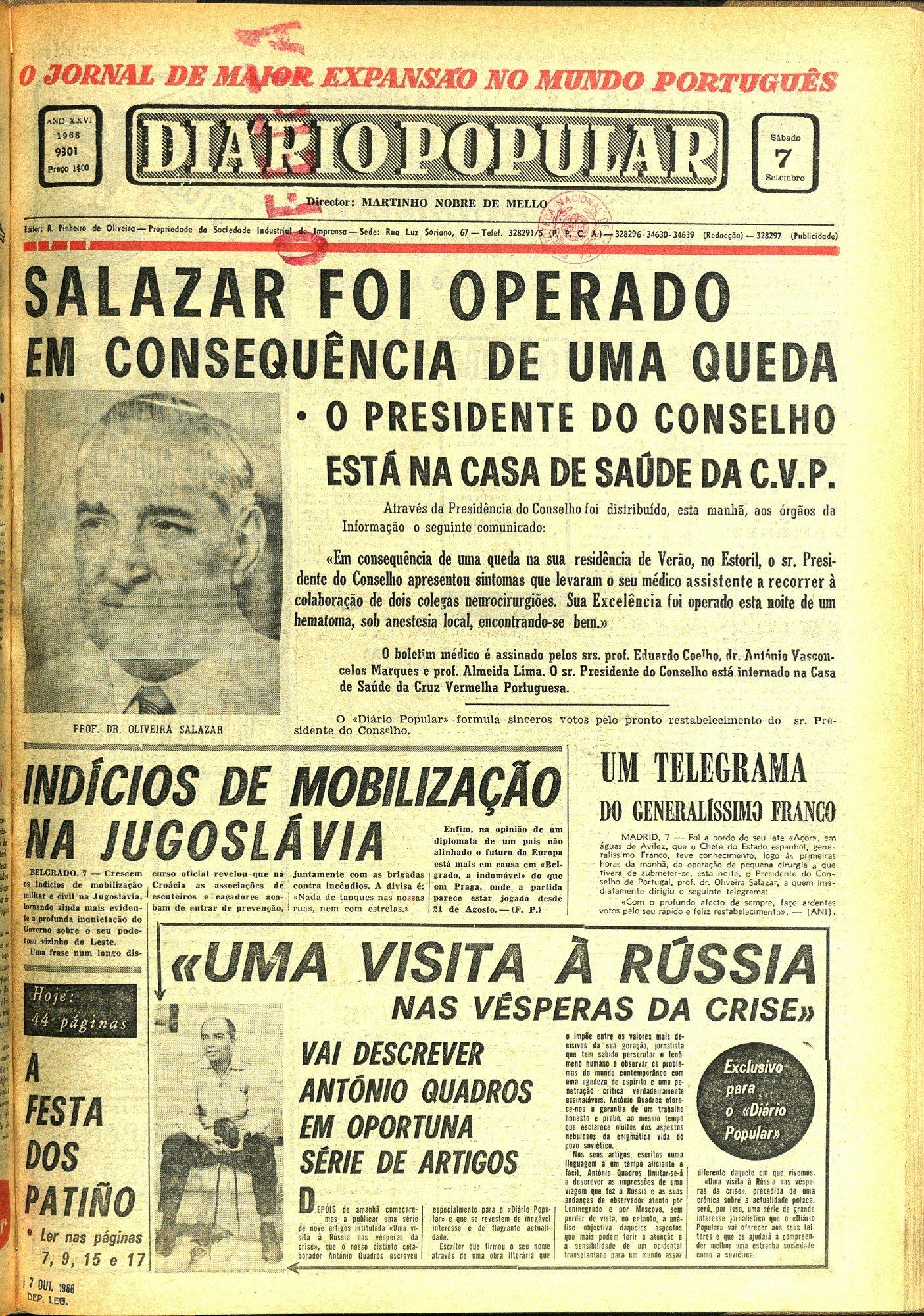 Capa do Diário Popular de 7 de setembro de 1968