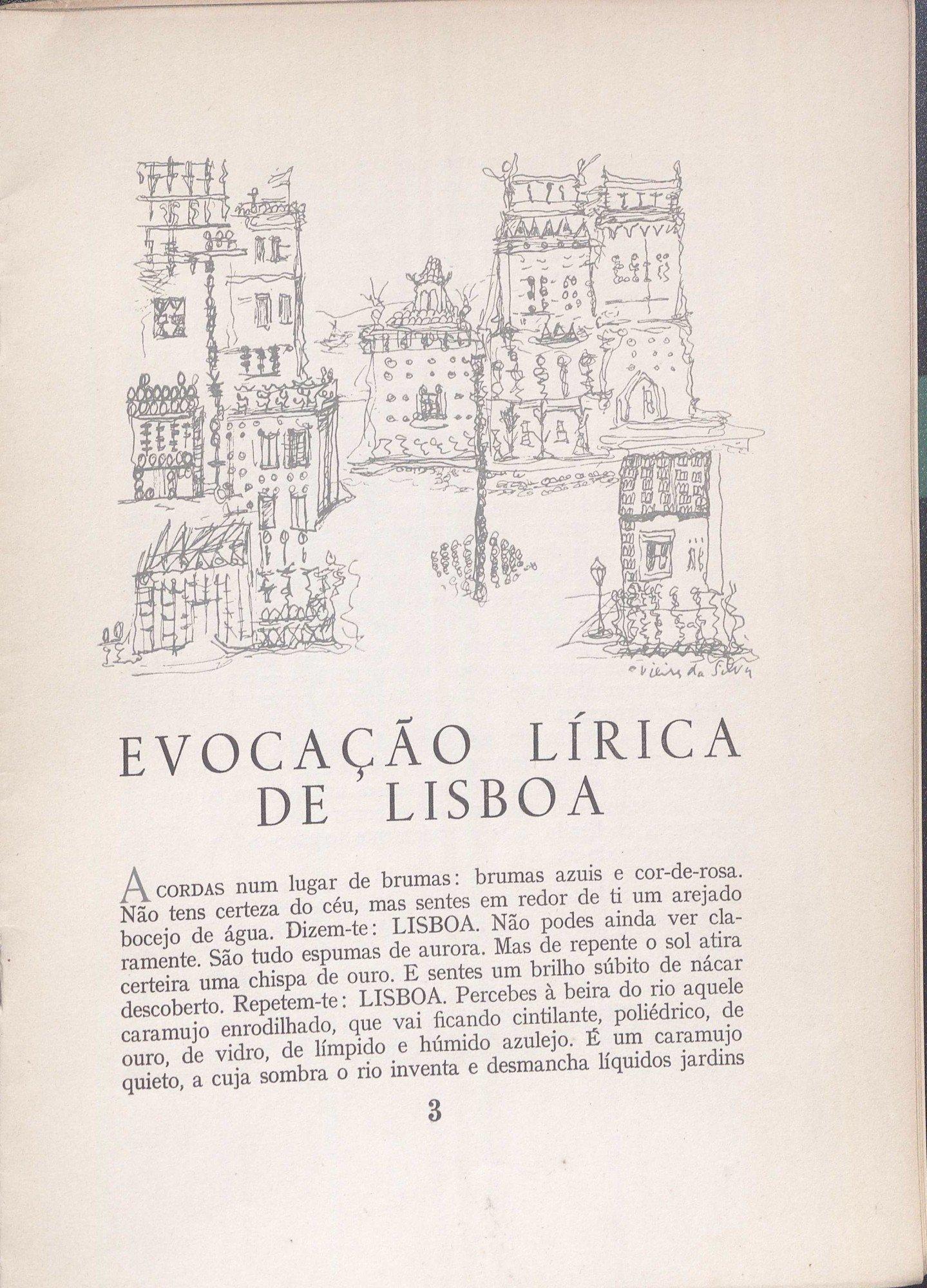 Sobre Lisboa, com desenho de Vieira da Silva