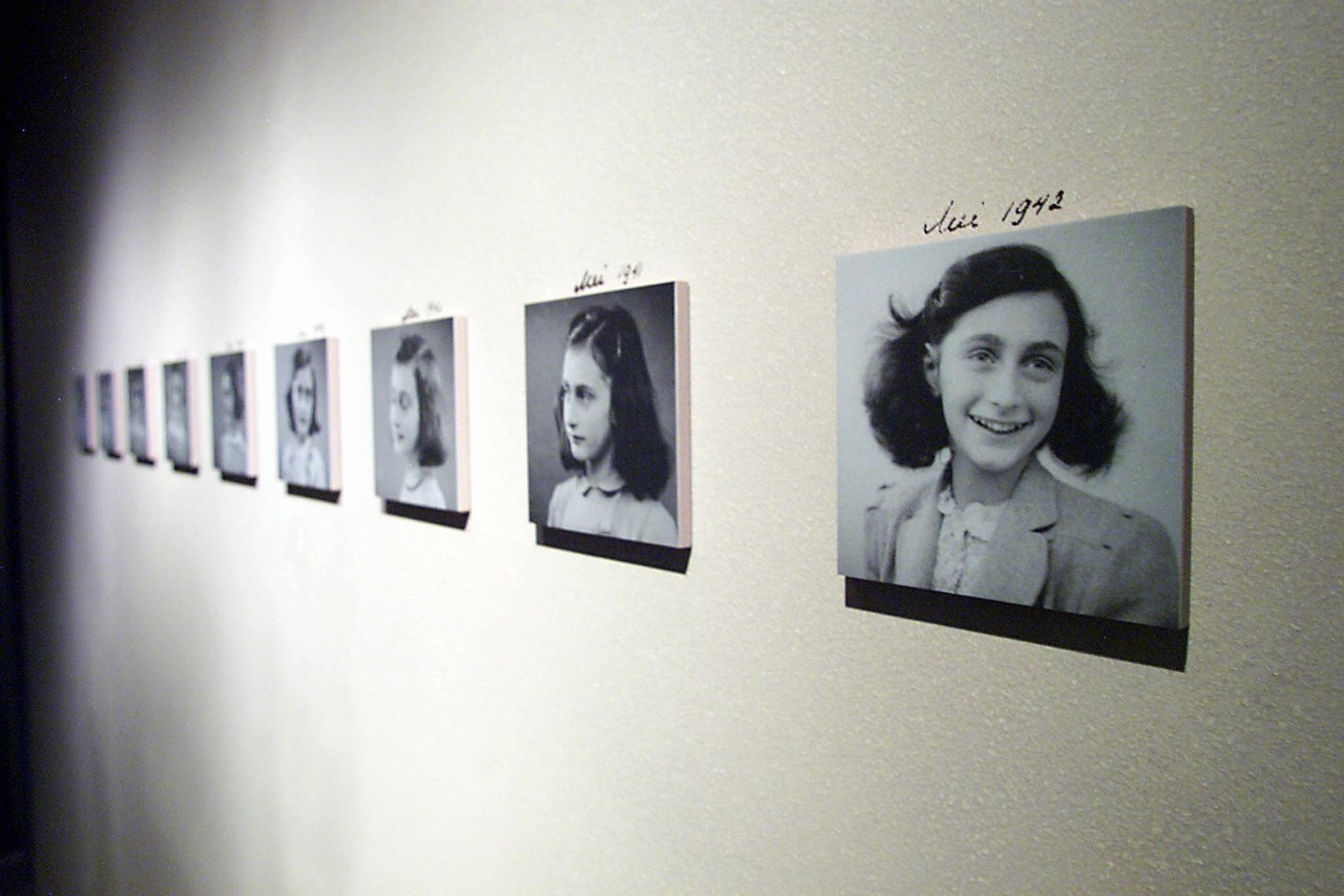 The new Anne Frank exhibit  will  open 11 June 2003 by US First Lady Laura Bush at The United States Holocaust Memorial Museum in Washington, DC. The United States Holocaust Memorial Museum is commemorating its 10th Anniversary from April 2003 to April 2004 through programs that underscore the resonance and urgency of the lessons of the Holocaust for todays world   TIM SLOAN / AFP PHOTO  (Photo credit should read TIM SLOAN/AFP/Getty Images)