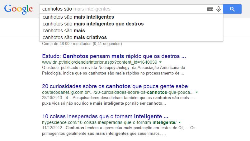 """""""Canhotos são..."""", diz a Google."""