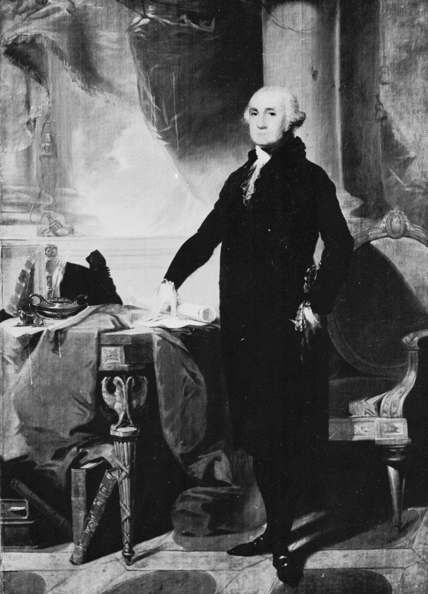 circa 1790:  George Washington (1732-1799), the 1st President of the United States of America.  (Photo by Three Lions/Getty Images)
