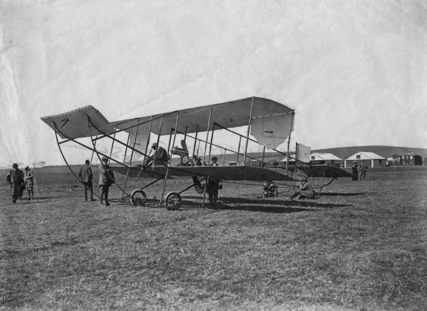English motoring and aviation pioneer Charles Rolls (1877 - 1910) in his French-built Sommer 1910 biplane, at Eastchurch airfield on the Isle of Sheppey in Kent, 2nd April 1910. (Photo by Topical Press Agency/Hulton Archive/GettyImages)