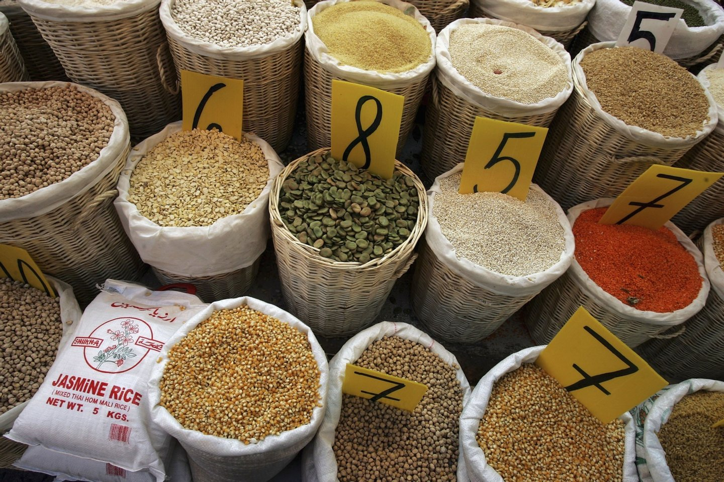 NETANYA, ISRAEL - FEBRUARY 22: Rice, lentils, chick peas, beans and other legumes, which traditionally feature on the daily menu in Mediterranean countries, are sold by weight in the local produce market February 22, 2006 in Netanya in central Israel. The Mediterranean diet, a term used to broadly describe the eating habits of the people of the region, is widely believed to be responsible for the low rates of chronic heart disease in the populations of the 16 countries bordering the Mediterranean Sea. (Photo by David Silverman/Getty Images)
