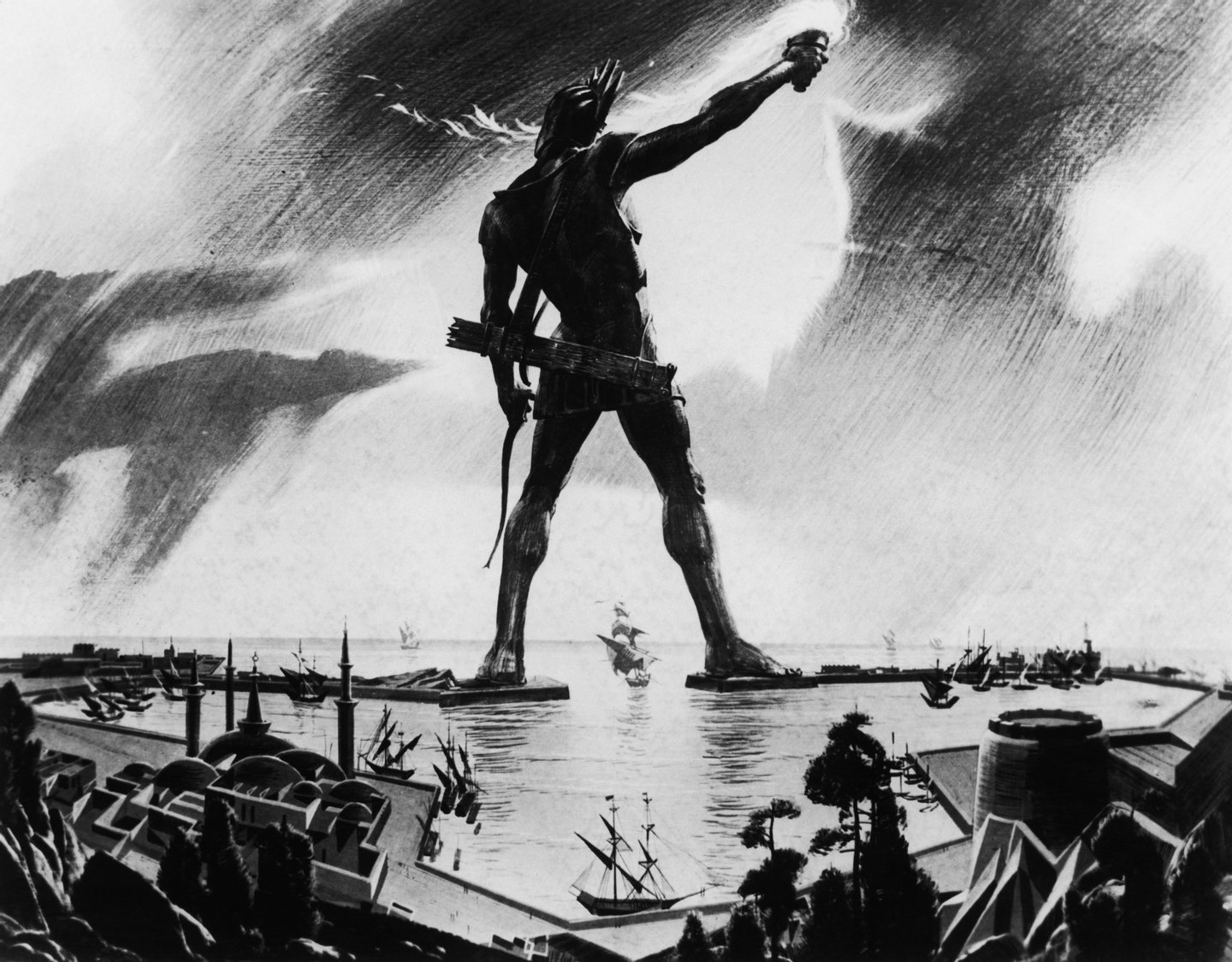 The Colossus of Rhodes, a giant statue of the sun god Helios measuring 34 metres, towers over the island's harbour, circa 250 BC. Completed in 280 BC, it was one of the Seven Wonders of the Ancient World, but was destroyed by an earthquake in 224 BC. A painting by Mario Larrinaga. (Photo by Three Lions/Hulton Archive/Getty Images)