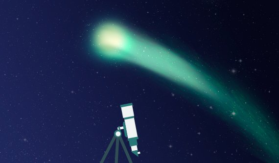 Olhando para cima será possível ver o cometa esverdeado a viajar para noroeste - @ Andreia Reisinho Costa