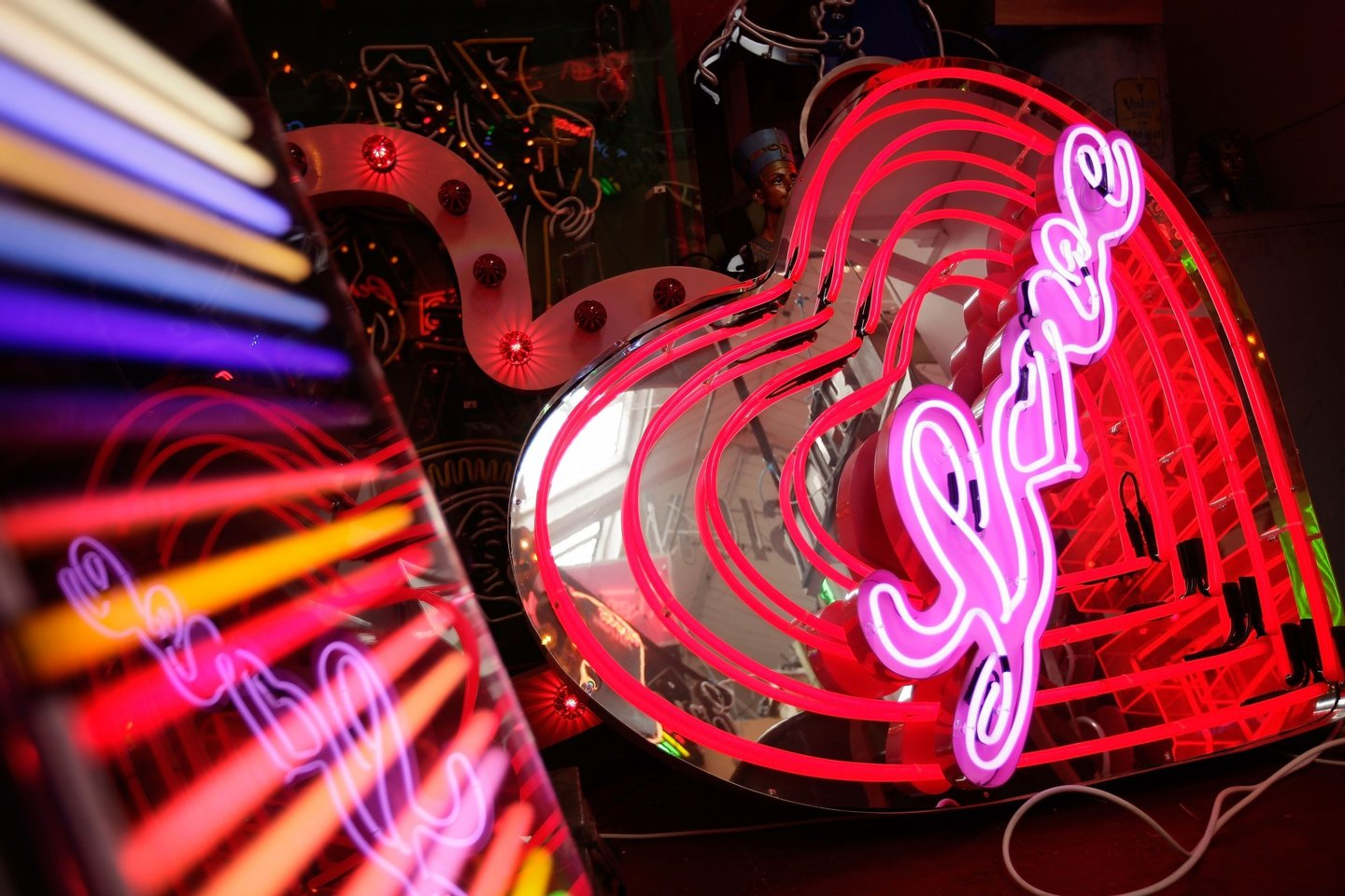 LONDON, ENGLAND - MAY 16: A neon heart sign used in a Florence and the Machine video lies in artist Chris Bracey's shed on May 16, 2011 in London, England. He has been making neon signs and artworks for 38 years, succeeding his father in running the family business. His pieces have featured in many famous advertising campaigns, shops, movies and TV series. Pieces are either commissioned for specific purposes, or designed as bespoke creations that go on to be sold in art galleries worldwide, often to celebrity buyers. (Photo by Matthew Lloyd/Getty Images)