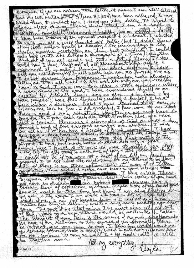 Facsimile da carta enviada à família