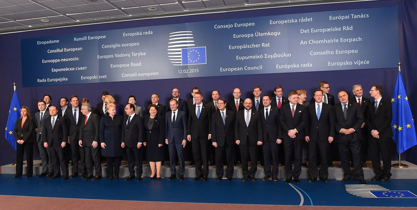 European leaders pose during a family photo at an European Council leaders summit in Brussels on February 12, 2015. AFP PHOTO/Emmanuel Dunand        (Photo credit should read EMMANUEL DUNAND/AFP/Getty Images)