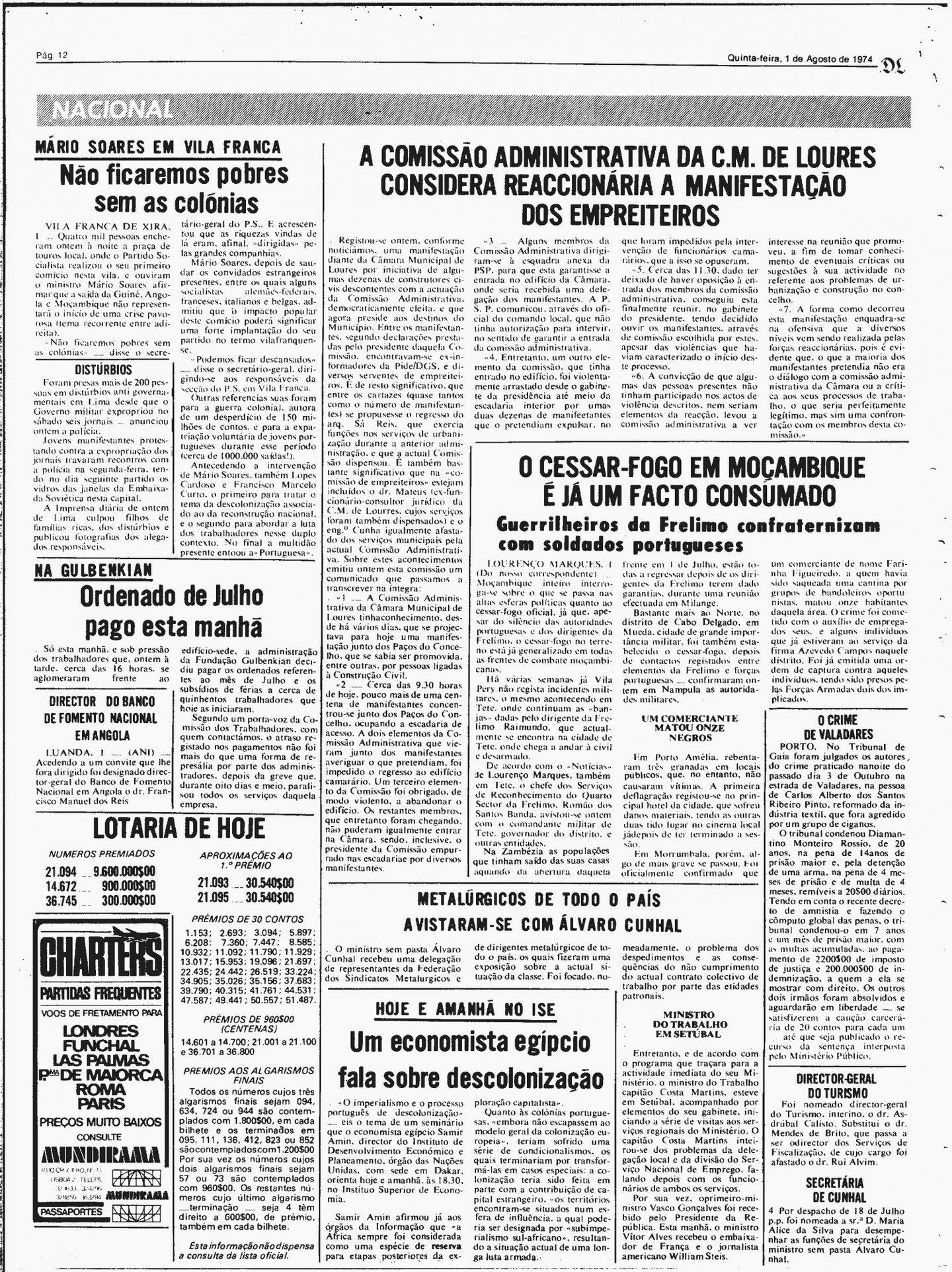 """A notícia do Diário de Lisboa segunda a qual o cessar-fogo já era """"um facto consumado"""""""