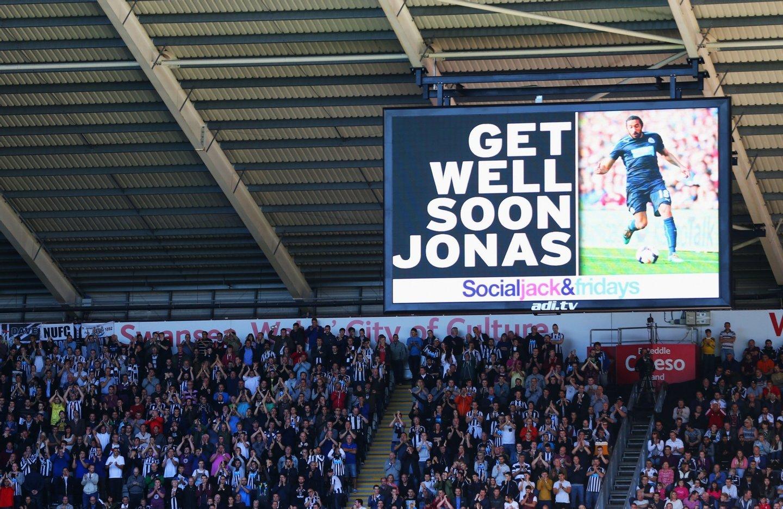 A mensagem exibida no estádio do Swansea, dias depois de Jonás anunciar que sofria de um cancro no testículo