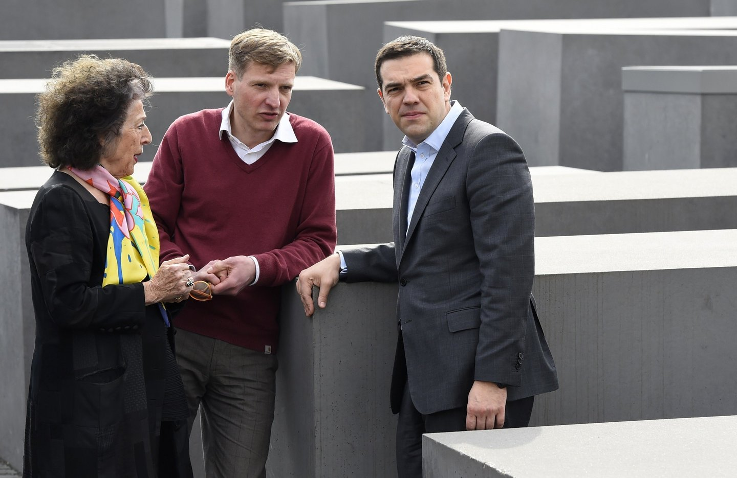 Greek Prime Minister Alexis Tsipras (R) talks with German journalist Lea Rosh (L), who is at the origin of the Memorial to the Murdered Jews of Europe aka Holocaust Memorial during its visit in Berlin on March 24, 2015. Tspiras is making his first visit to the German capital since taking office in January 2015.   AFP PHOTO / TOBIAS SCHWARZ        (Photo credit should read TOBIAS SCHWARZ/AFP/Getty Images)