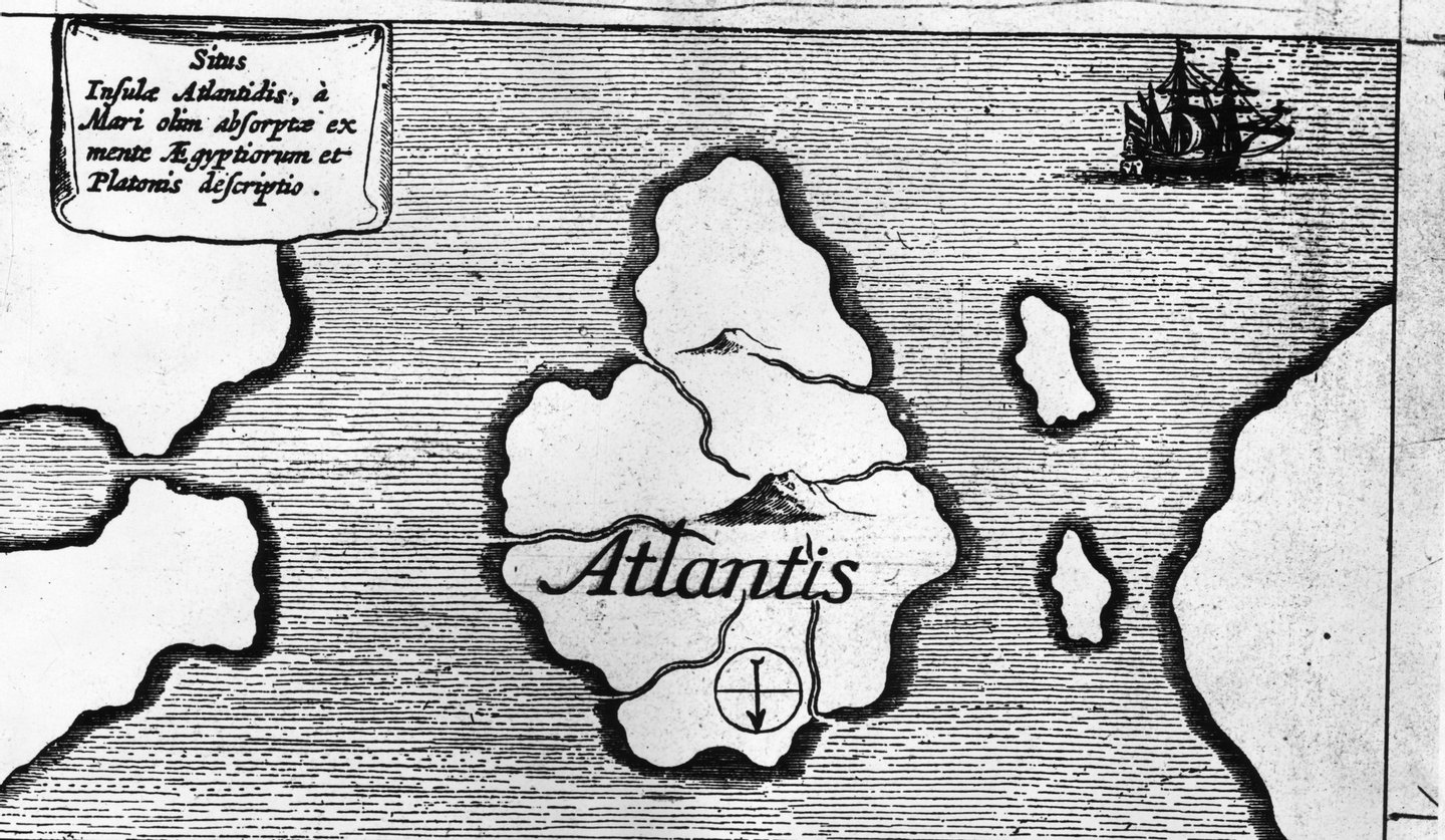 Circa 1600, An illustration from an old book published in Germany entitled, 'Land Sila and Air' showing a map of the island of Atlantis. (Photo by Fox Photos/Getty Images)