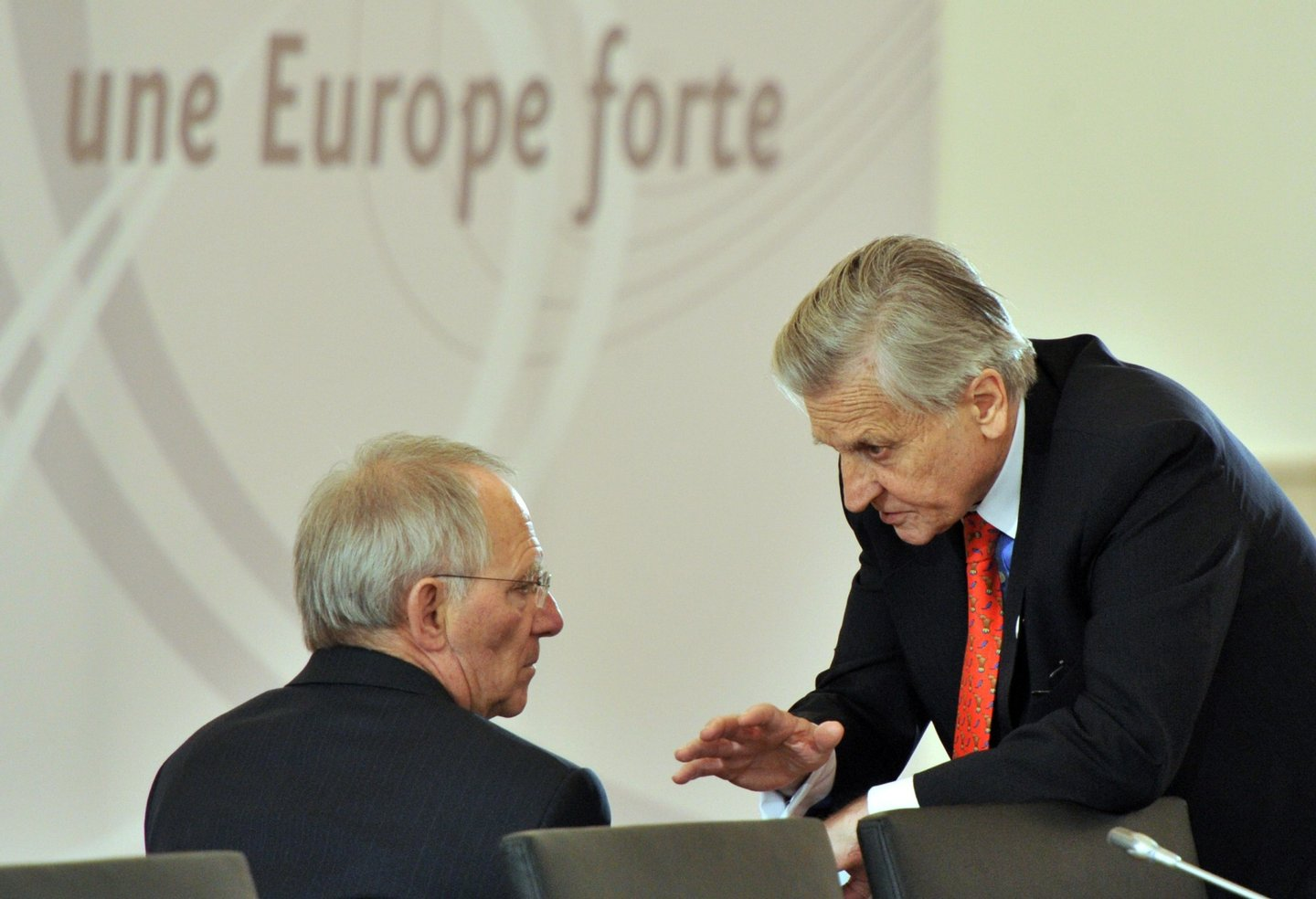 German Finance Minister Wolfgang Schaeuble (L) and European Central Bank President Jean-Claude Trichet talk on April 8, 2011 before the start of an informal meeting of EU finance ministers in Godollo, near the Hungarian capital Budapest, to thrash out the terms of a multi-billion dollar loan to Portugal after the debt-laden Lisbon government formally requested a bailout. The ministers were expected to discuss both the size of the loan and the terms of its repayment at the two-day meeting. Around two-thirds of the cash will come from the EU while the rest will be covered by the International Monetary Fund.  AFP PHOTO / GEORGES GOBET        (Photo credit should read GEORGES GOBET/AFP/Getty Images)