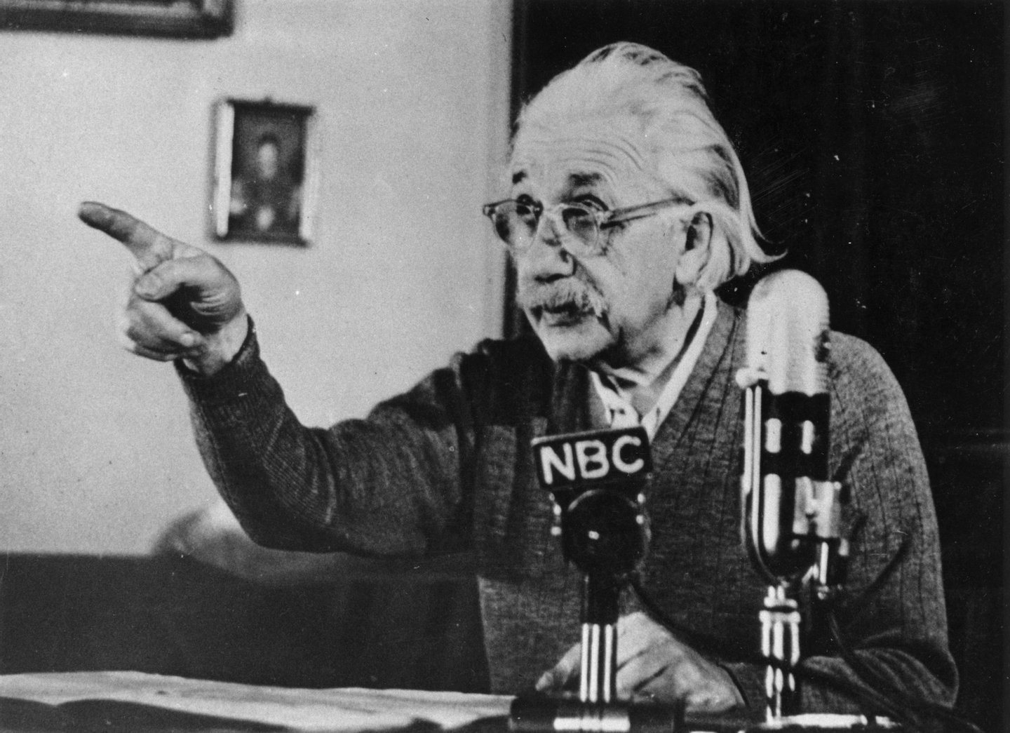 circa 1955:  Mathematical physicist Albert Einstein (1879 - 1955) delivers one of his recorded lectures.  (Photo by Keystone/Getty Images)