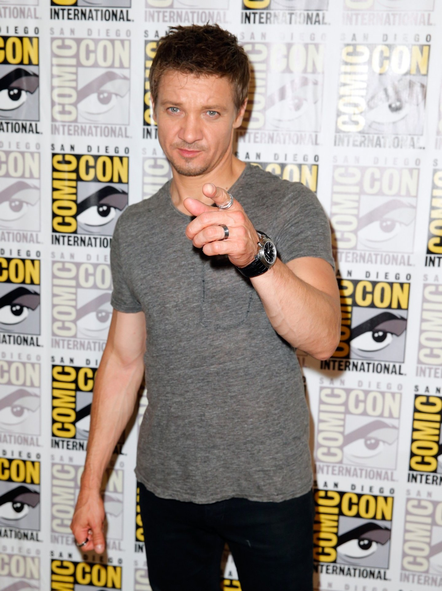 "SAN DIEGO, CA - JULY 26:  Actor Jeremy Renner attends Marvel's Hall H Press Line for ""Ant-Man"" and ""Avengers: Age Of Ultron"" during Comic-Con International 2014 at San Diego Convention Center on July 26, 2014 in San Diego, California.  (Photo by Joe Scarnici/Getty Images for Disney)"
