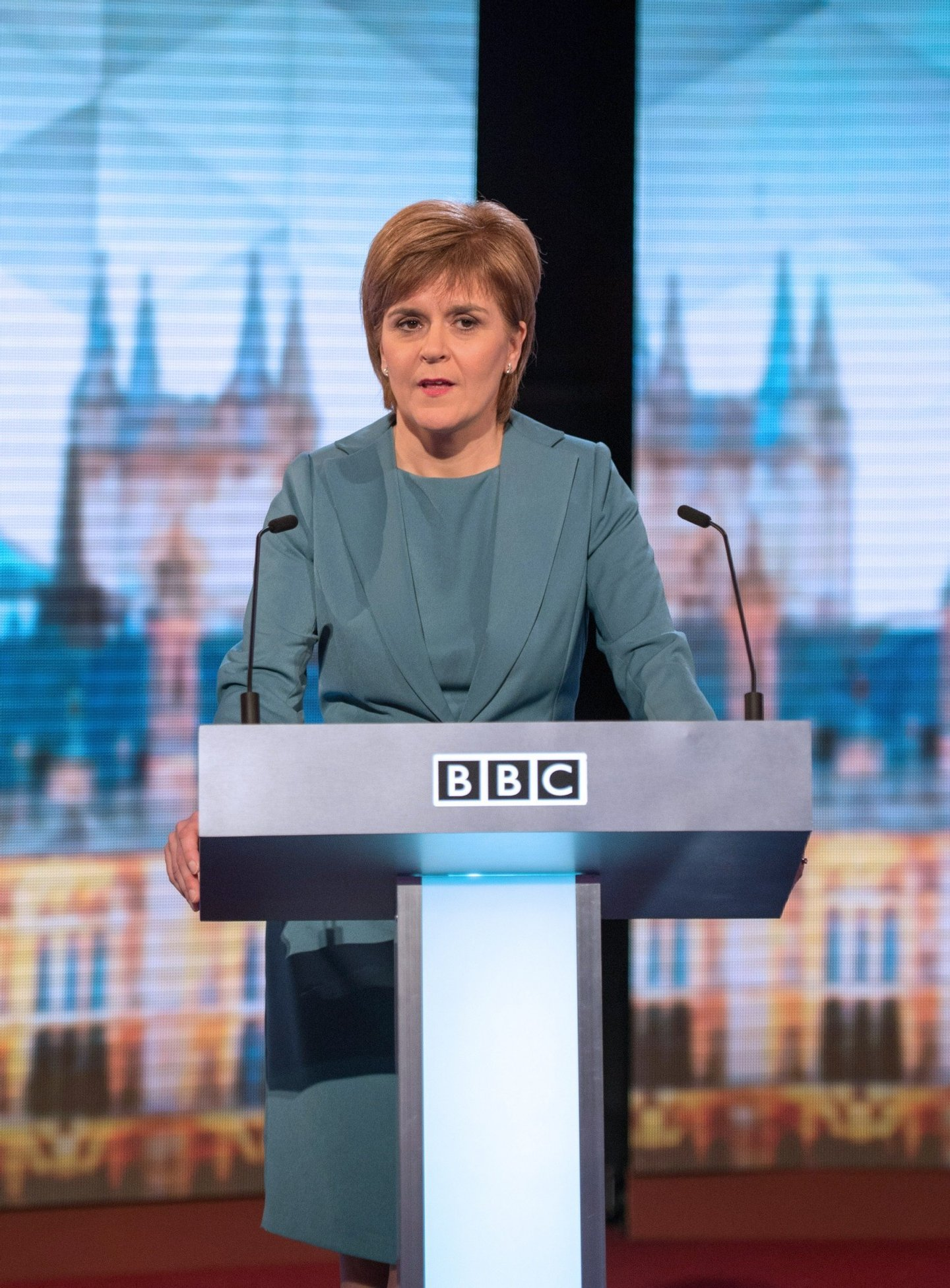 "Leader of the Scottish National Party (SNP), Nicola Sturgeon takes part in the ""BBC Challengers' Election Debate"" at Central Hall Westminster, in London on April 16, 2015. The 90 minute debate sees Ed Miliband share a panel with the leaders of the UK Independence Party (UKIP), the Greens and the Scottish and Welsh nationalists. AFP PHOTO / POOL / STEFAN ROUSSEAU        (Photo credit should read STEFAN ROUSSEAU/AFP/Getty Images)"