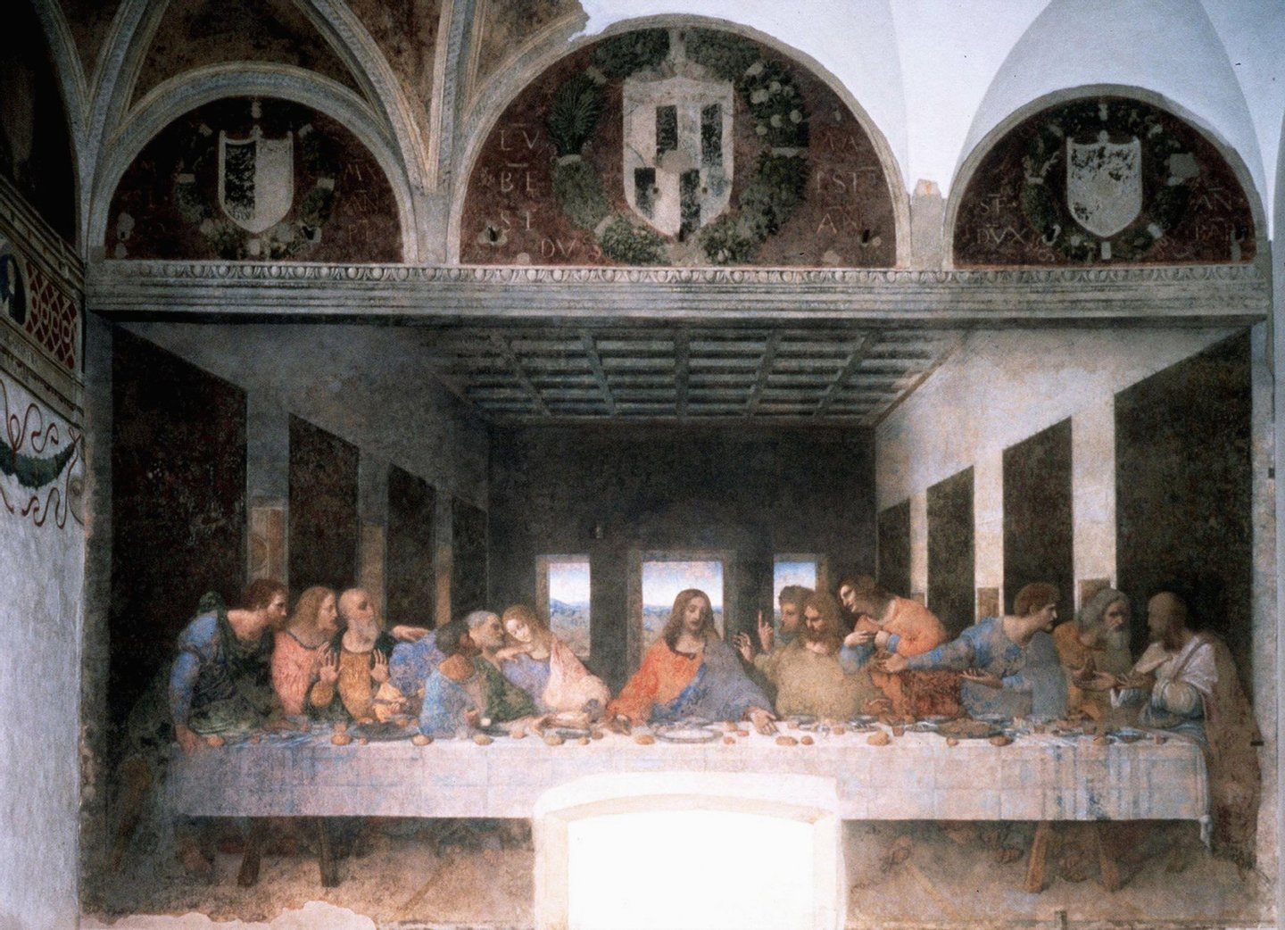 MILAN,ITALY - MAY 24: A photo released 24 May 1999 showing Leonardo da Vinci's 'The Last Supper' after restoration in Milan's Santa Maria delle Grazie church. The public will again be abto view the fresco 27 May 1999 after 21 years of restoration works. Some art critics claim the painting has been damaged by the restoration. (Photo by: AFP/Getty Images)