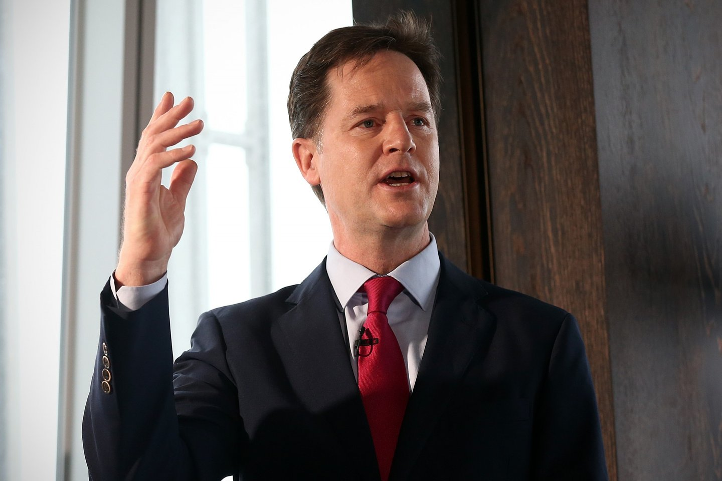 LONDON, ENGLAND - FEBRUARY 05:  Liberal Democrat leader and deputy Prime Minister, Nick Clegg, gestures during a press conference with Chief Secretary to the Treasury, Danny Alexander (not pictured), at the Shangri-La Hotel on February 5, 2015 in London, England. The pair laid out the Liberal Democrats fiscal plans for the next Parliament.  (Photo by Carl Court/Getty Images)