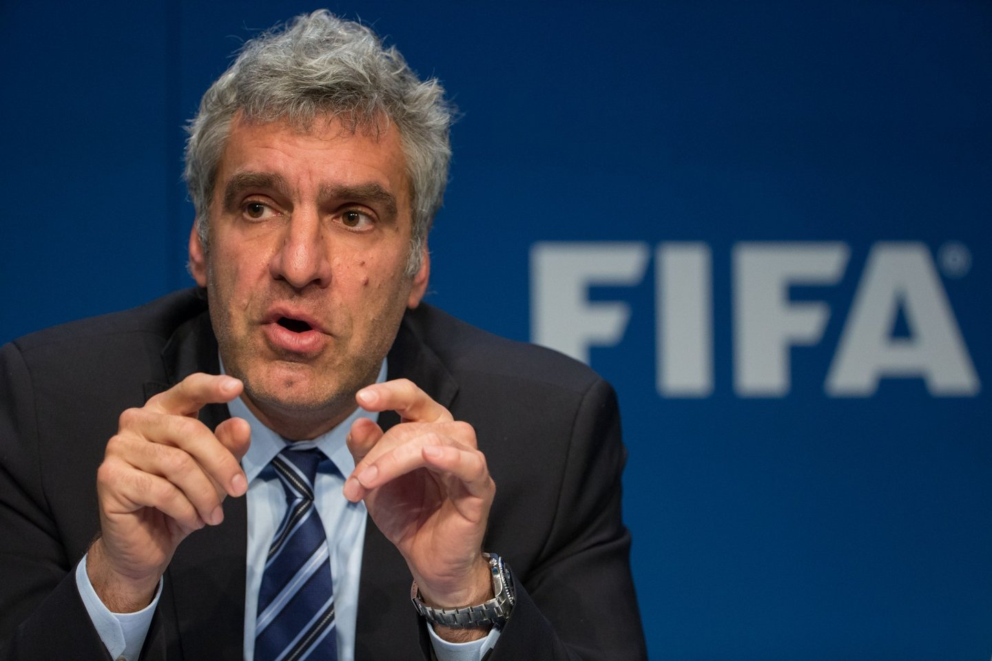 ZURICH, SWITZERLAND - MAY 27: FIFA Director of Communications Walter de Gregorio attends a press conference  at the FIFA headquarters on May 27, 2015 in Zurich, Switzerland. Swiss police on Wednesday raided a Zurich hotel to detain top FIFA football officials as part of a US investigation. (Photo by Philipp Schmidli/Getty Images)
