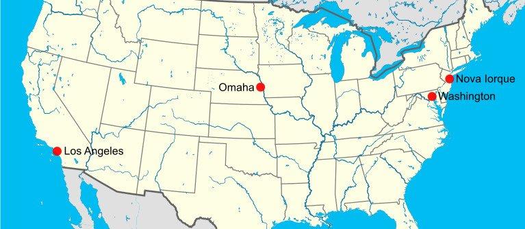 Localização de Omaha, no estado do Nebrasca, nos Estados Unidos da América.