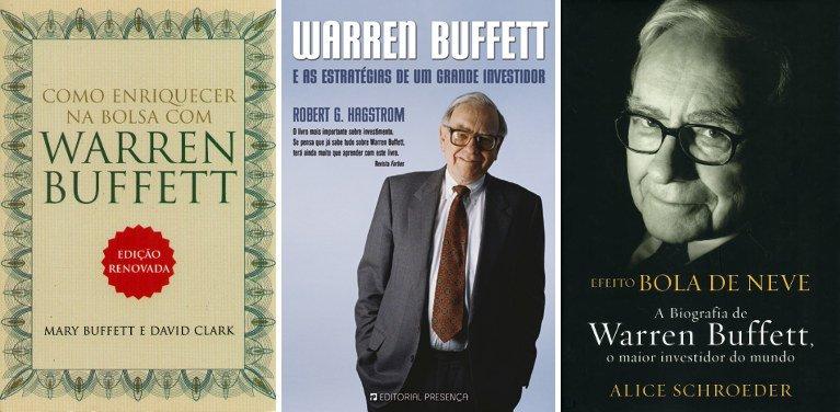 """Estes são alguns dos livros sobre Warren Buffett traduzidos em Portugal. Da esquerda para a direita: """"Como Enriquecer na Bolsa com Warren Buffett"""", de Mary Buffett e David Clarke; """"Warren Buffett e as Estratégias de Um Grande Investidor"""", de Robert G. Hagstrom; e """"Efeito Bola Neve"""", a biografia escrita por Alice Schroeder."""