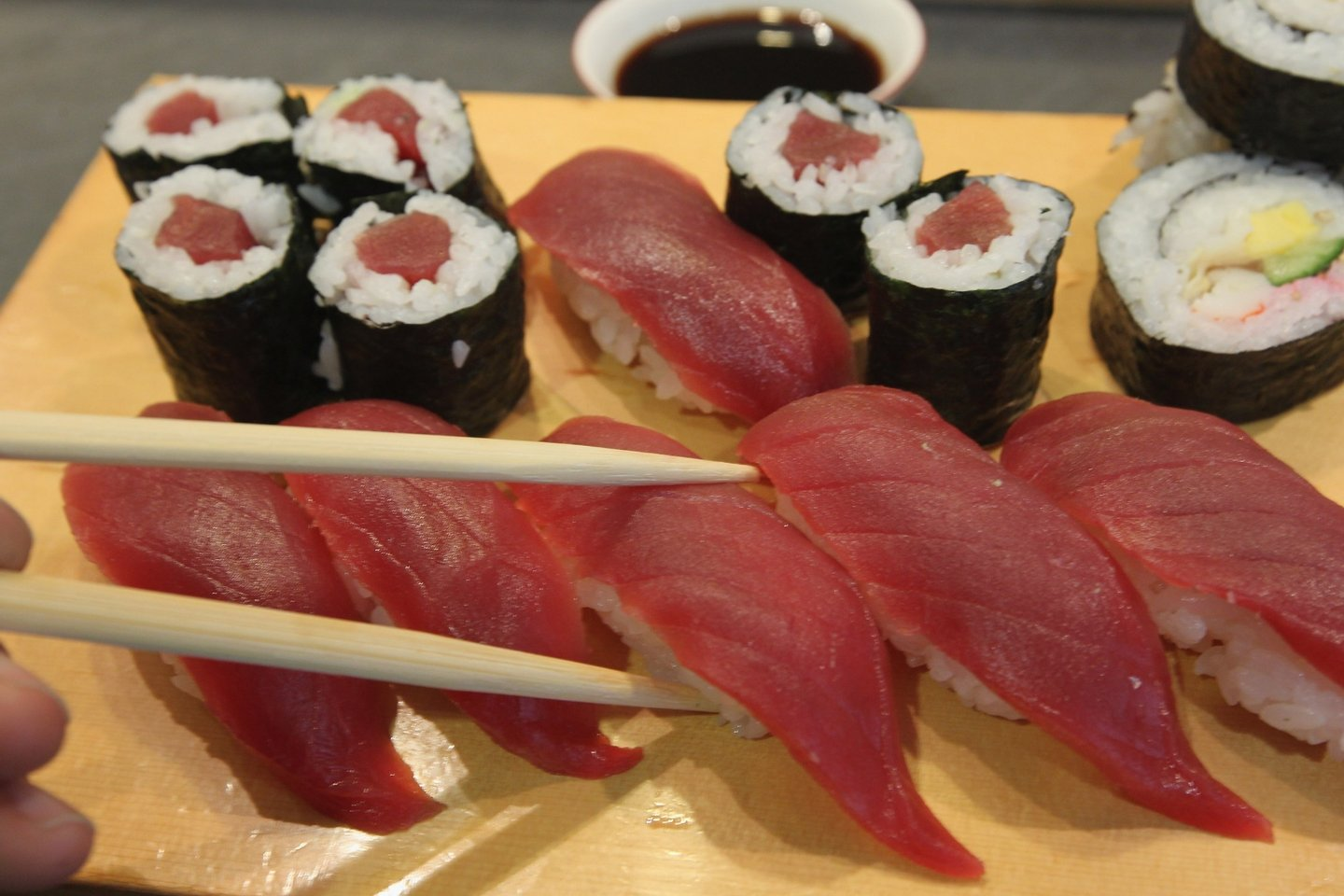BERLIN - NOVEMBER 23:  Sushi from yellowfin, or maguro, tuna lies on a customer's plate at a sushi restaurant on November 23, 2010 in Berlin, Germany. Yellowfin tuna is mostly fished in the Atlantic and is among the cheaper and more plentiful varieties of tuna.  (Photo by Sean Gallup/Getty Images)