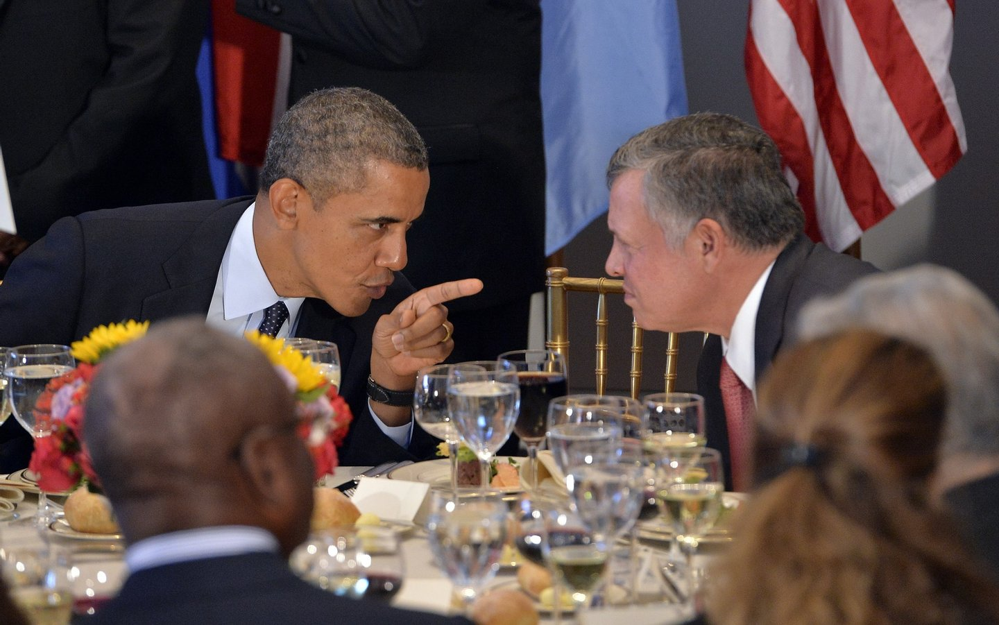 US President Barack Obama (L) chats with Jordan's King Abdullah II during a luncheon hosted by UN Secretary General Ban Ki-Moon on the sideline of the 68th United Nations General Assembly at the UN in New York on September 24, 2013. Obama on demanded that the world take action on Syria, saying that the regime must face consequences after the use of chemical weapons. Speaking before the UN General Assembly, Obama defended his threat of force against Syrian President Bashar al-Assad's regime and denounced critics who accuse the United States of inconsistency. AFP Photo/Jewel Samad        (Photo credit should read JEWEL SAMAD/AFP/Getty Images)