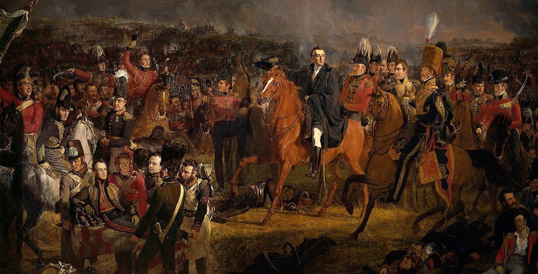 No final da batalha, Napoleão mandou avançar a temida Guarda Imperial, mas a forma como os soldados de Wellington (aqui com o seu Estado-Maior) reagiram provocaram a sua debandada