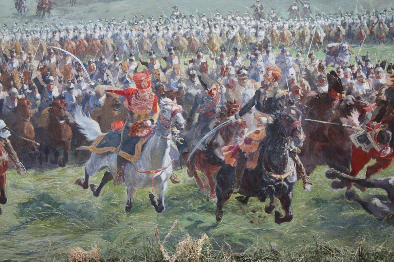 A carga da cavalaria francesa liderada pelo marechal Ney