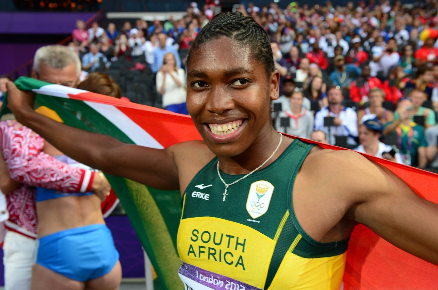 South Africa's Caster Semenya silver medalist celebrates after the women's 800m final at the athletics event of the London 2012 Olympic Games on August 11, 2012 in London.  AFP PHOTO / FRANCK FIFE        (Photo credit should read FRANCK FIFE/AFP/GettyImages)