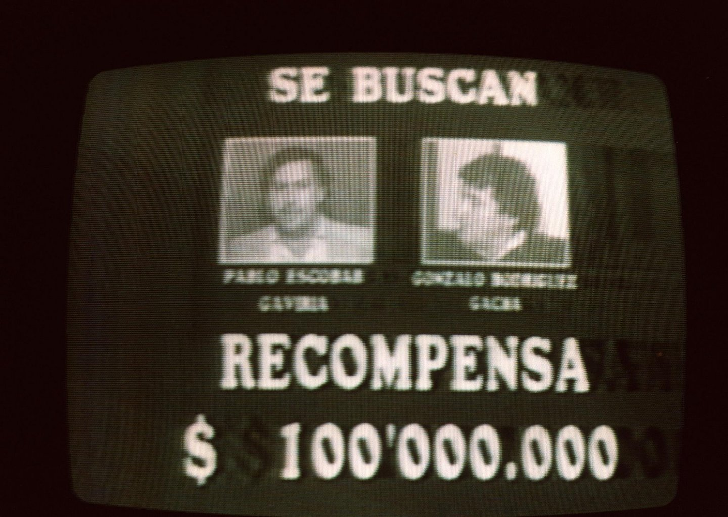 BOGOTA, COLOMBIA - SEPTEMBER 6:  An image taken 06 September 1989 from Colombian television of a wanted advertisement for Medellin drug cartel leaders Pablo Escobar and Gonzalo Rodriguez.  (Photo credit should read CARLOS LEMA/AFP/Getty Images)