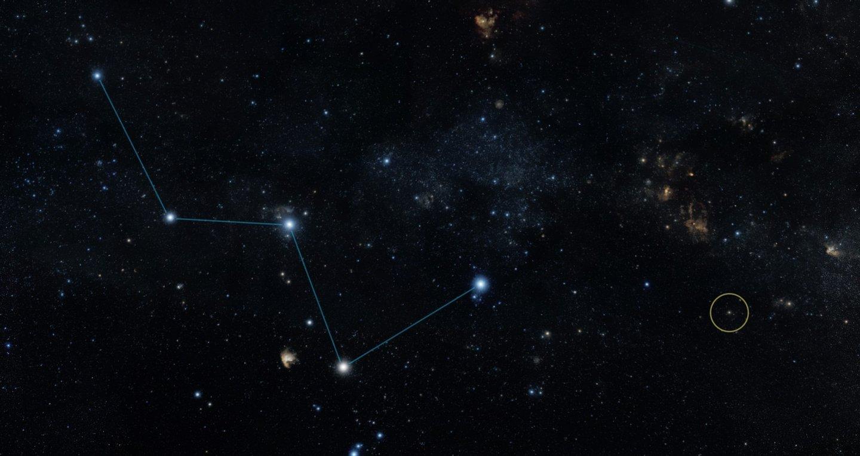 Localização da estrela HD219134 (círculo amarelo), visível a olho nu, próxima da constelação Cassiopeia - NASA/JPL-Caltech/R. Hurt)