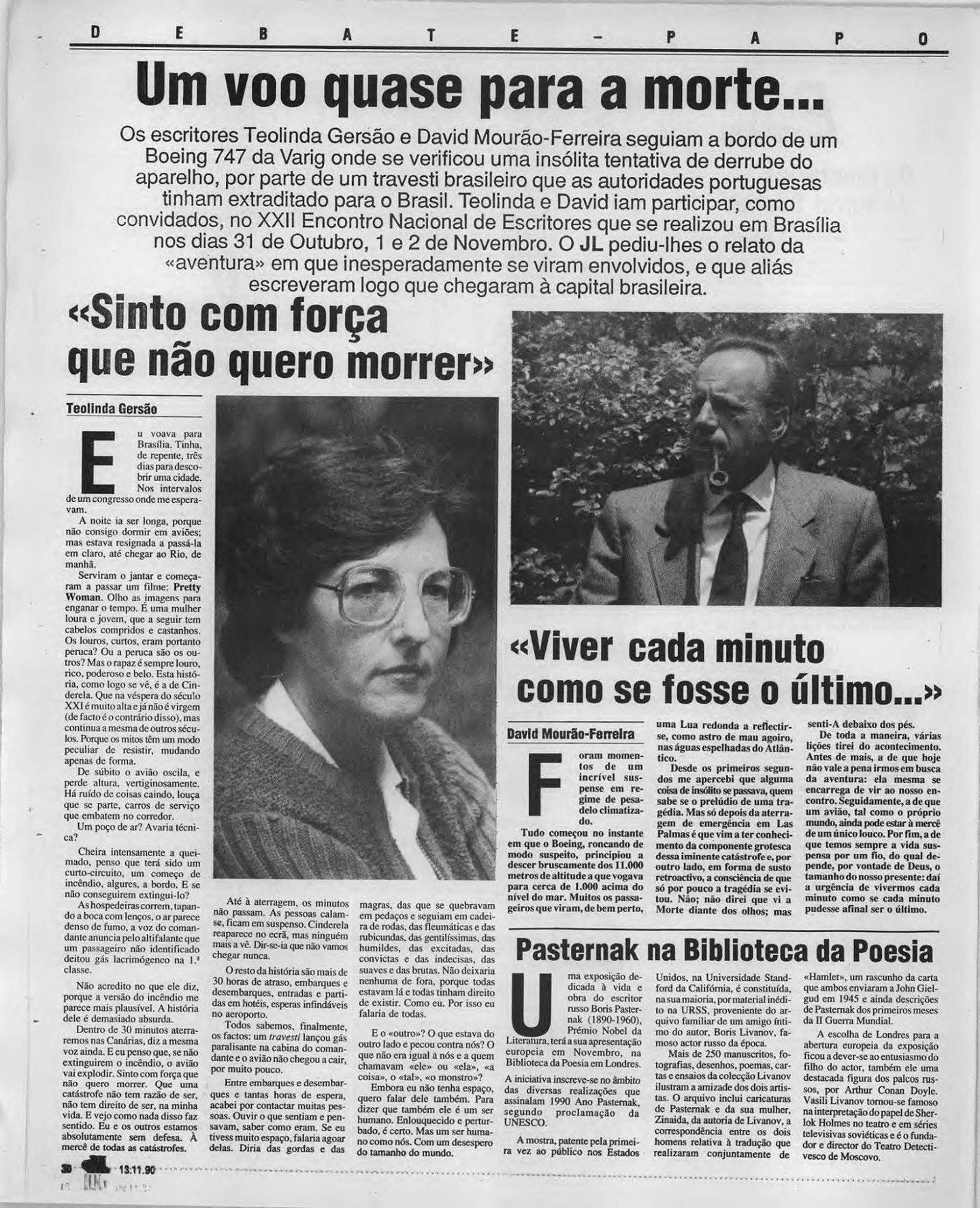 Página do Jornal de Letras