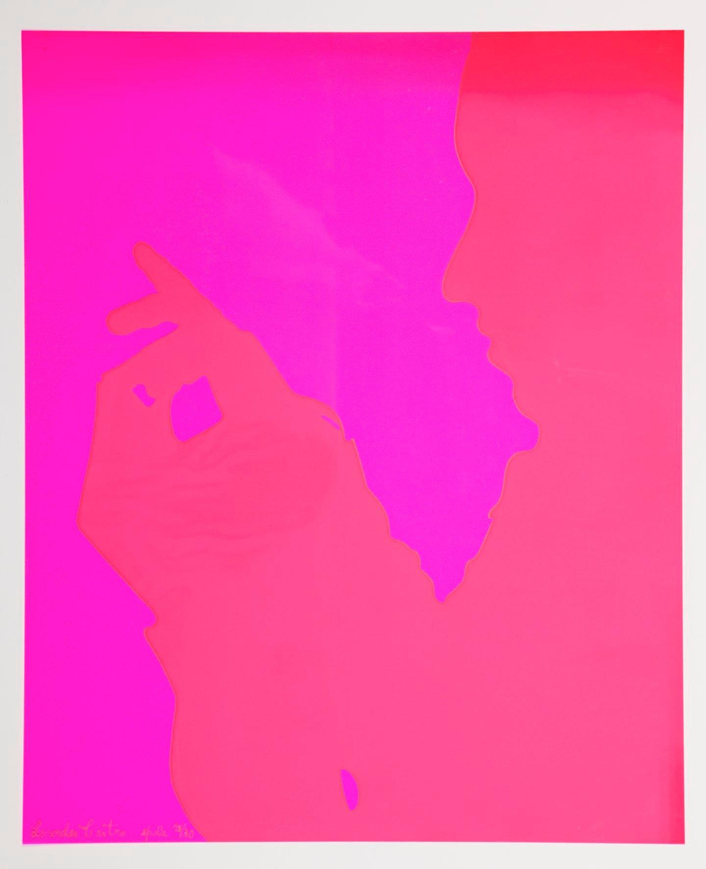Sombra Projectada-Serigrafia em rodhoïd rosa fluor. Coleção da artísta