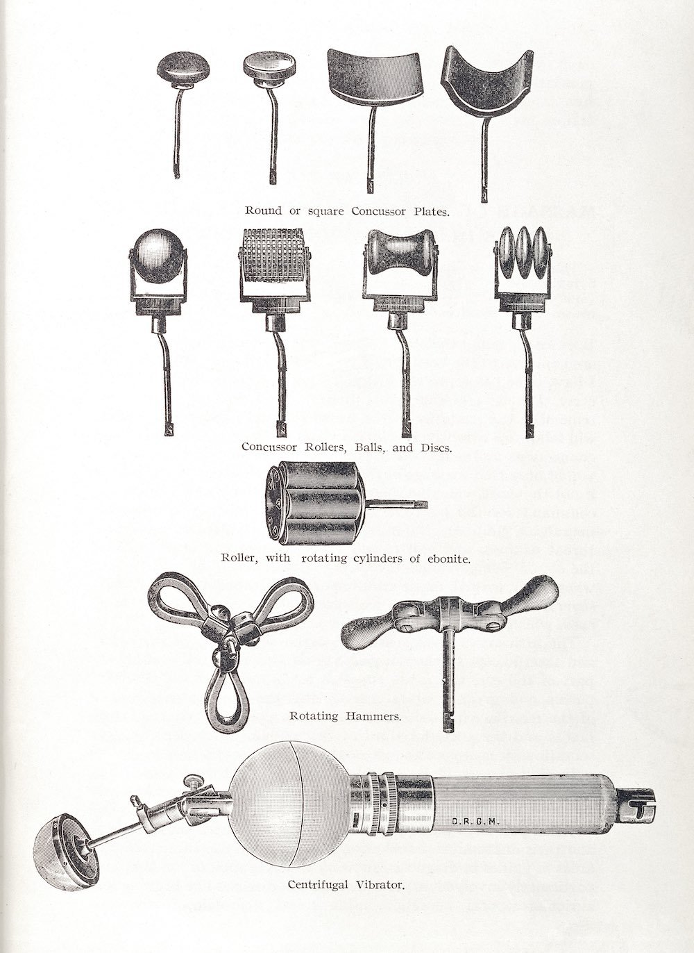 L0034214 Illustration showing various instruments Credit: Wellcome Library, London. Wellcome Images images@wellcome.ac.uk http://wellcomeimages.org Illustration showing various instruments used in vibratory massage. Round or square Concussor Plates, Concussor Rollers, Balls and Discs, Roller with rotating cylinders and ebonite, Rotating hammers and Centrifugal Vibrator Illustration Lectures on Massage & Elecricity in the Treatment of Disease Thomas Stretch Dowse Published: 1906 Copyrighted work available under Creative Commons Attribution only licence CC BY 4.0 http://creativecommons.org/licenses/by/4.0/