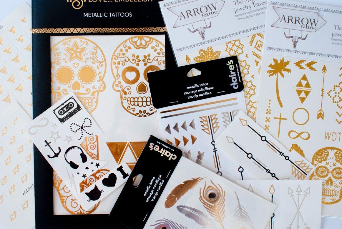 Tatuagens douradas e prateadas de várias marcas disponíveis no mercado