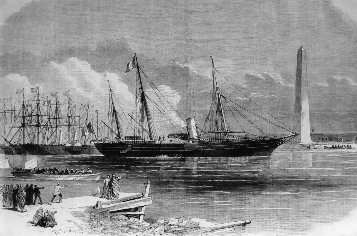 The French Empress Eugenie officially opens the Suez Canal at Port Said in Egypt, on board the Imperial Yacht 'Aigle', 17th November 1869. (Photo by Hulton Archive/Getty Images)