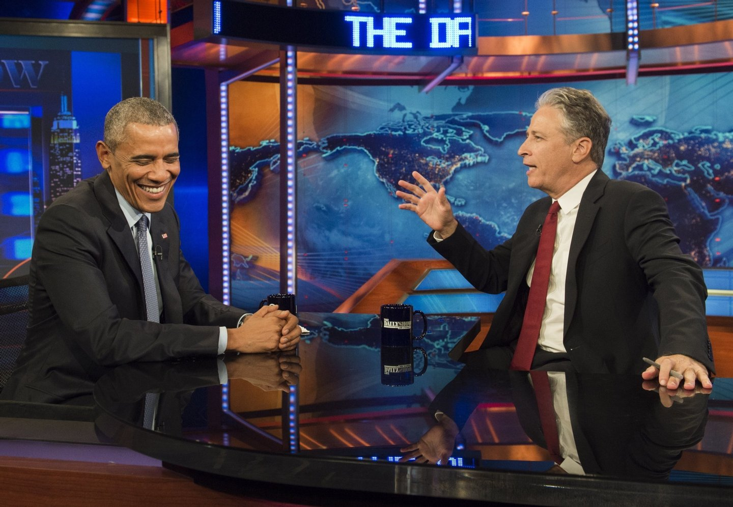"US President Barack Obama speaks with Jon Stewart, host of ""The Daily Show with Jon Stewart,"" during a taping of the show in New York, July 21, 2015. The appearance marks Obama's third time on the show as President, and seventh overall. AFP PHOTO / SAUL LOEB        (Photo credit should read SAUL LOEB/AFP/Getty Images)"