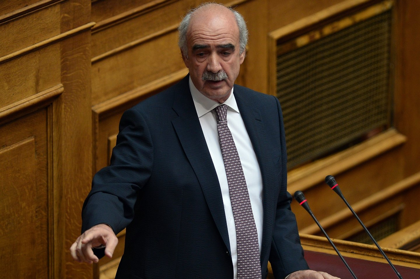 Greek New Democracy main opposition party leader Vangelis Meimarakis  addresses   a session at the  Greek parliament prior the vote in Athens early on July 23, 2015. Prime Minister Alexis Tsipras faced a new test of his authority in parliament on July 22, where MPs were to vote on a second batch of reforms to help unlock a bailout for Greece's stricken economy. The embattled premier last week faced a revolt by a fifth of the lawmakers in his radical-left Syriza party over changes to taxes, pensions and labour rules demanded by EU-IMF creditors. AFP PHOTO/ LOUISA GOULIAMAKI        (Photo credit should read LOUISA GOULIAMAKI/AFP/Getty Images)