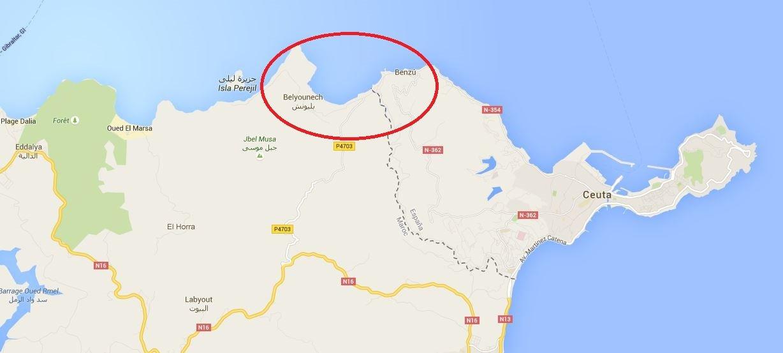 Localização aproximada do ponto onde foram encontrados os sete migrantes, entre Marrocos e Ceuta - Google Maps