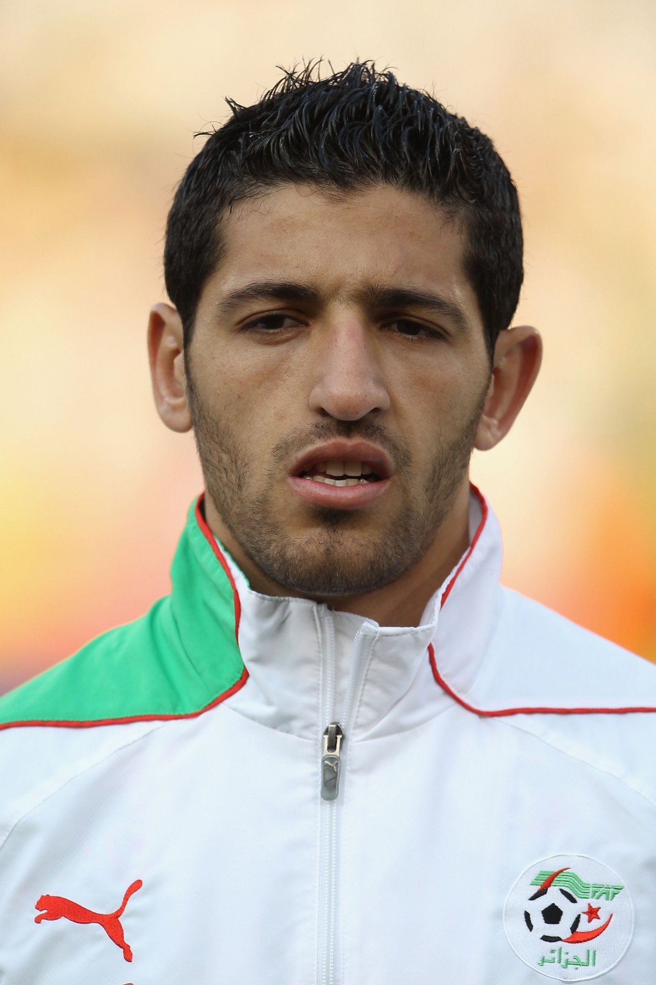 PRETORIA, SOUTH AFRICA - JUNE 23: Rafik Halliche of Algeria ahead of the 2010 FIFA World Cup South Africa Group C match between USA and Algeria at the Loftus Versfeld Stadium on June 23, 2010 in Tshwane/Pretoria, South Africa. (Photo by Phil Cole/Getty Images)