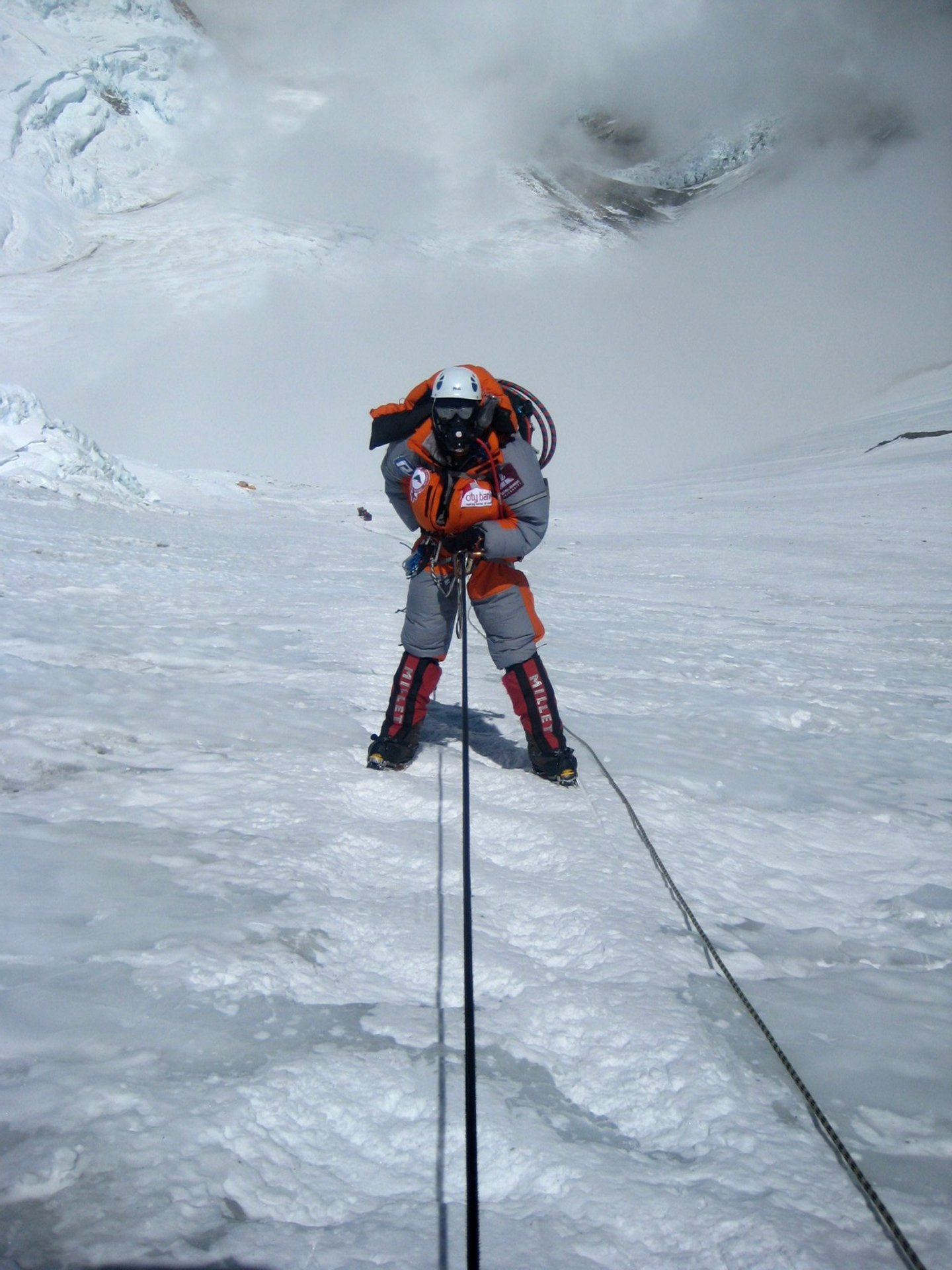 Female Bangladeshi mountaineer Wasfia Nazreen descends on the lonely Lhotse face on Mount Everest on May 27, 2012. Wasfia Nazreen, 29, became the second Bangladeshi woman to summit the world's tallest mountain on May 26, 2012 and is climbing the highest peak on each of the continents to celebrate 40 years of Bangladeshi independence. AFP PHOTO/ Ngima Girmen Sherpa (Photo credit should read Ngima Girmen Sherpa/AFP/GettyImages)
