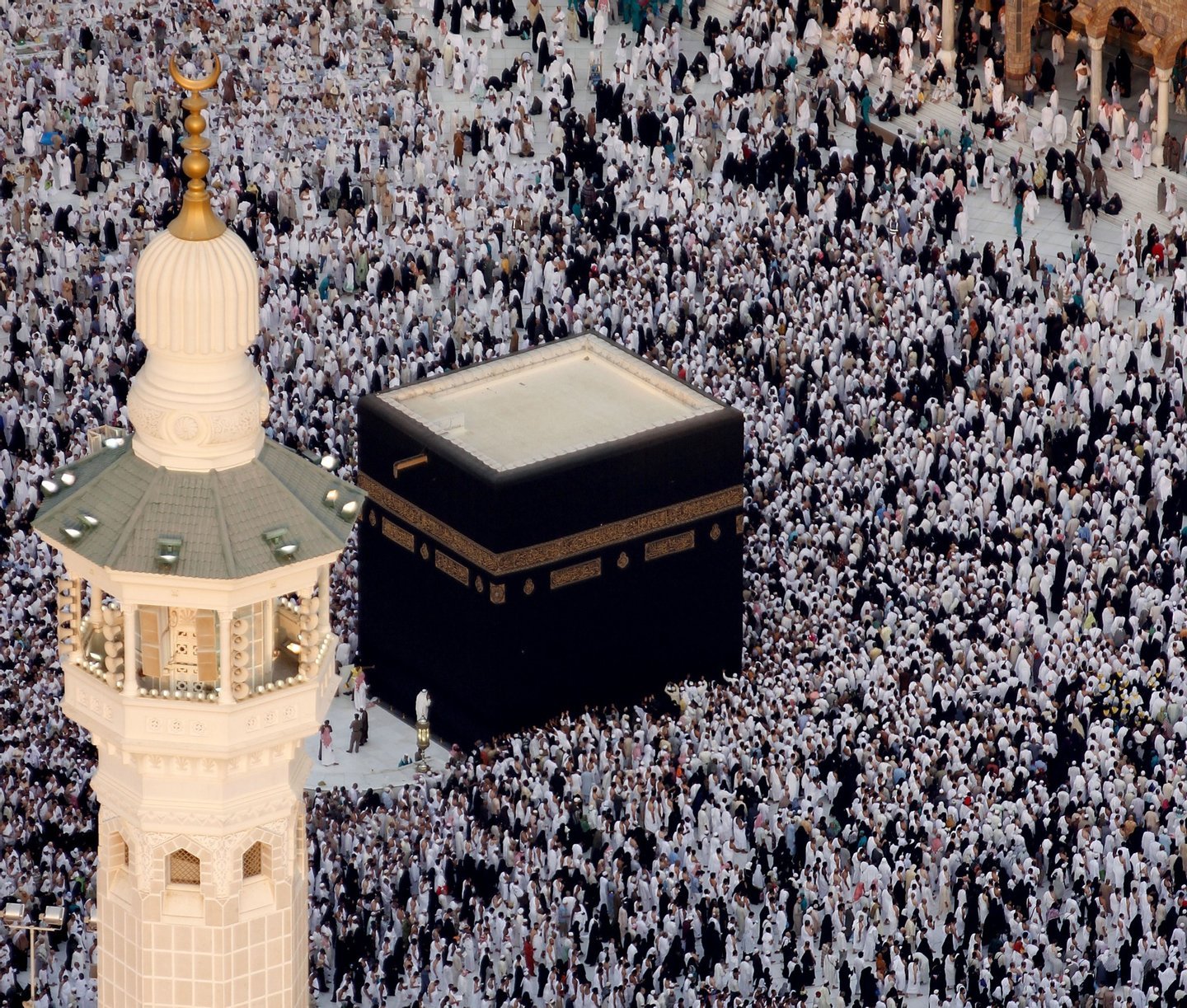 An aerial picture taken on August 31, 2010 shows Muslims circling the Kaaba (C) inside the Grand Mosque in Islam's holy city of Mecca on August 31, 2010 during the fasting month of Ramadan. AFP PHOTO/STR (Photo credit should read -/AFP/Getty Images)
